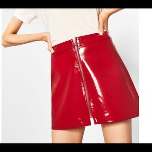 Zara red patent leather skirt. Size small.